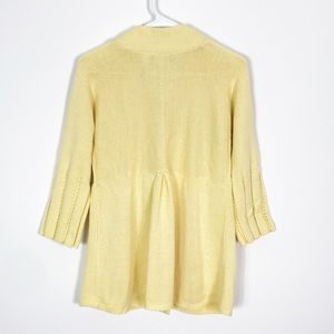Emma James Sweaters - Emma James Yellow Knit 3/4 Sleeve Cardigan Medium